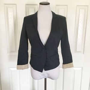 Free people navy blue cuffed fitted blazer